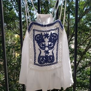 Blue Embroidered White Tank Top